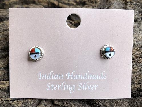 Mini Zuni sun-face multi stone stud earrings.