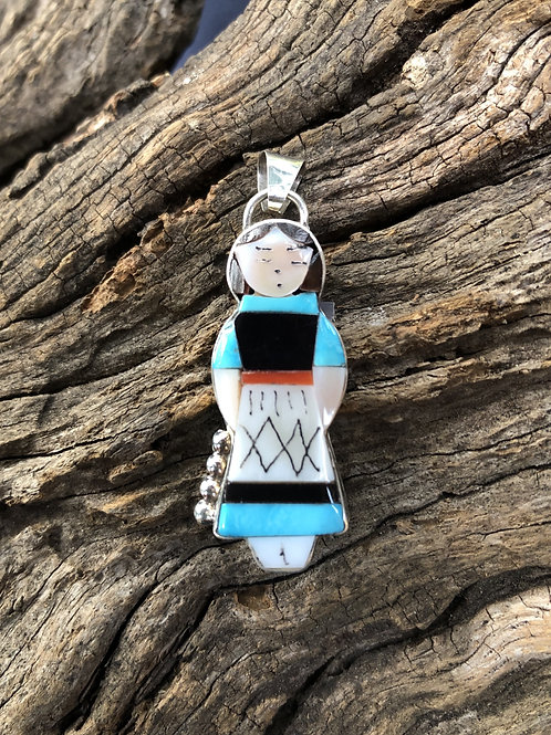 Traditional Zuni maiden with turquoise and mother of pearl inlay, signed.