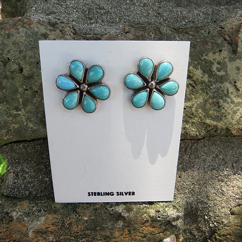 Turquoise cluster stud earrings