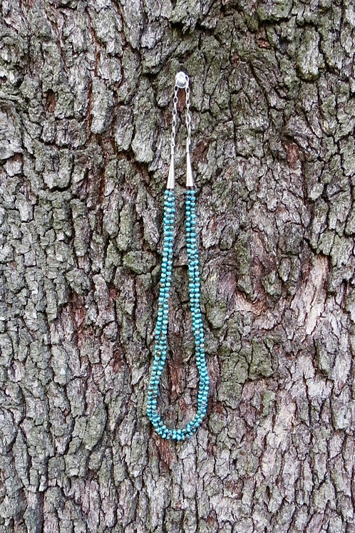 3 strand turquoise and pen shell bead necklace