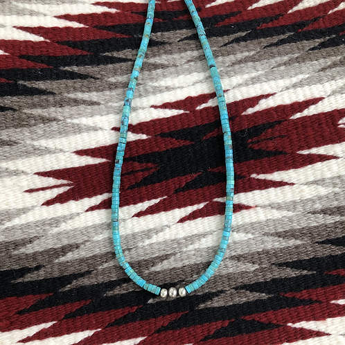 """18"""" Turquoise choker with three sterling silver beads"""