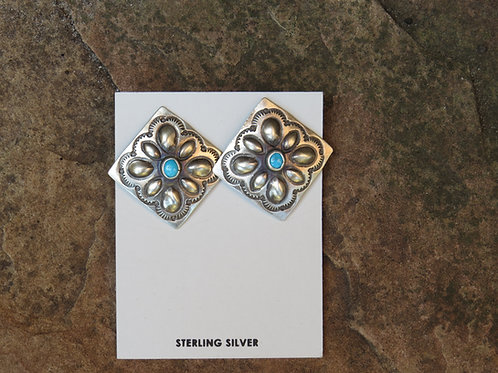 Navajo etched earrings with turquoise stone