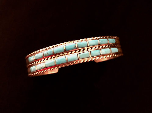 Sterling silver 2 row Zuni turquoise inlay signed JPC