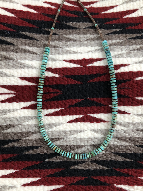 """Sold- 18"""" Wafer cut turquoise choker with pen shell spacers $126."""