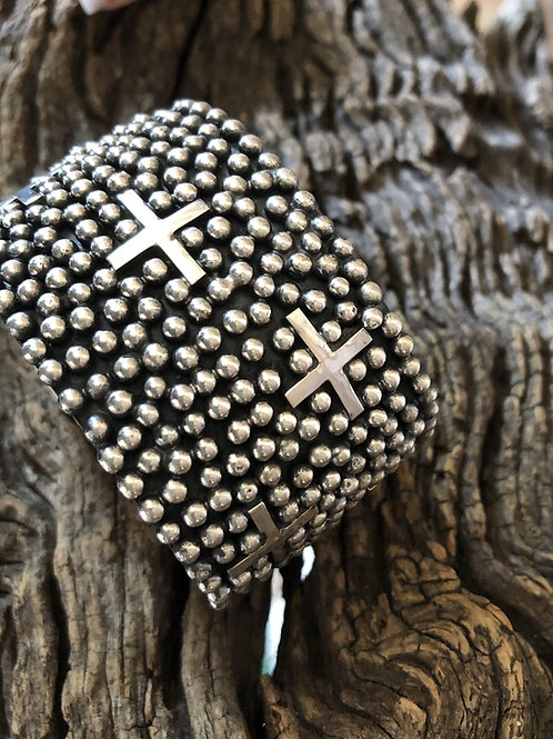 Navajo sterling silver large cuff with crosses by Ronnie Wylie