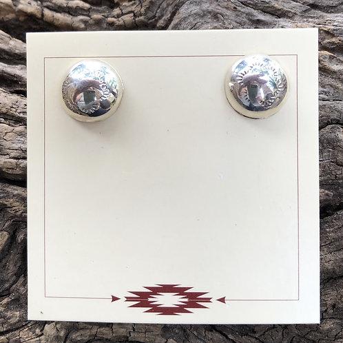 Navajo sterling silver small  stamped  stud earrings.