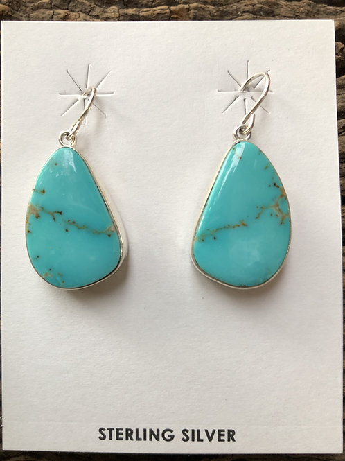 Turquoise dangle earrings set into sterling silver on french wires.