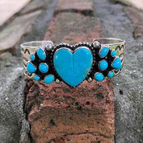 Heart turquoise cuff #26