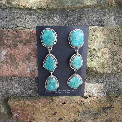 Sold- Turquoise three stone dangle earrings $235.