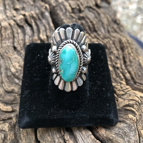 Turquoise ring with intricate sterling silver tooling & stamp work, size 6.75