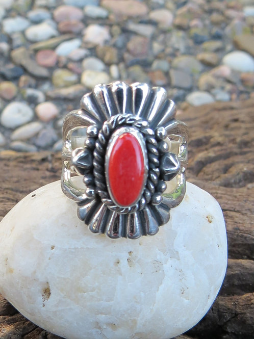 Navajo silver work and coral ring, signed. Size 6.5