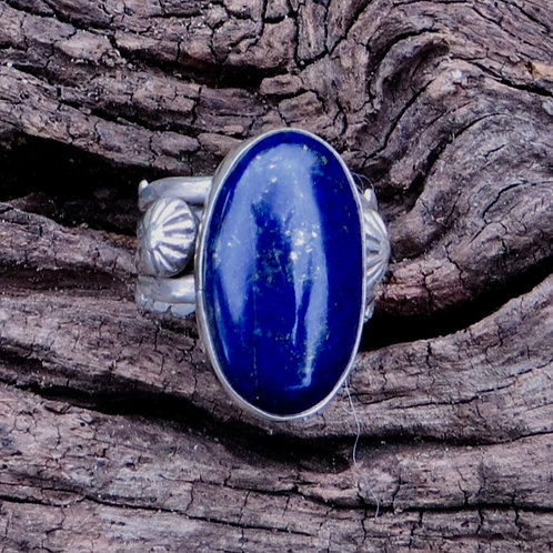 Navajo sterling silver lapis ring, signed. Size 8