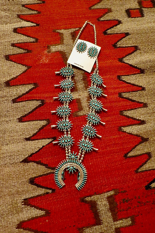 Zuni needlepoint squash blossom with earrings