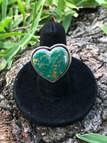Turquoise Heart Ring Adjustable - 68R