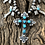 Thumbnail: Cross necklace and earring set with handmade silver beads and stamp work