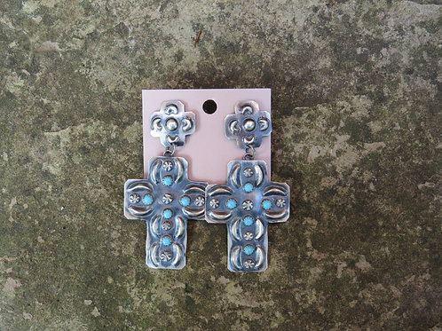 Navajo silver with turquoise cross dangle earrings by Tim Yazzie