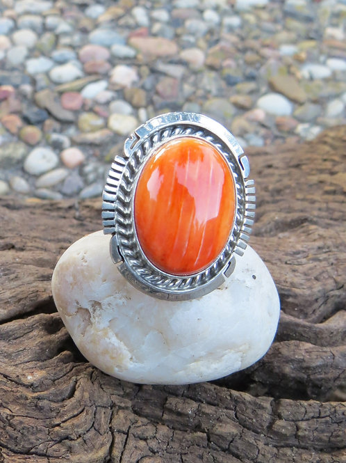 Navajo sterling silver and orange spiny oyster ring.  Size 7.5 $90