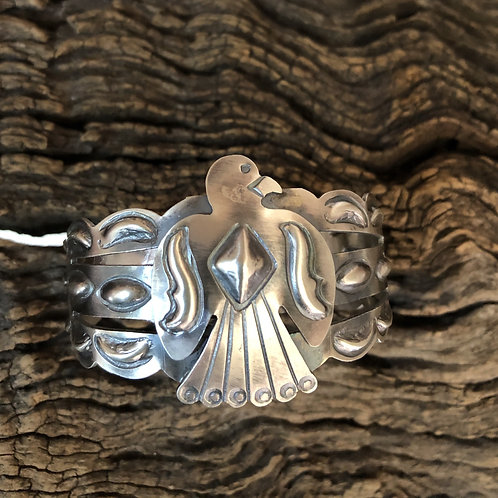 Sold- Navajo sterling silver stamped thunderbird. $240.