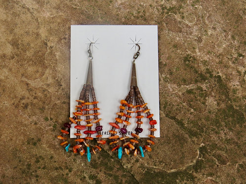 Multi stone heishi dangle earrings