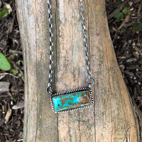 Sold- Turquoise bar necklace by Navajo A Robert $150.