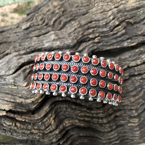 Beautiful 4 row coral cuff set into sterling silver bezels by Philert Secatero