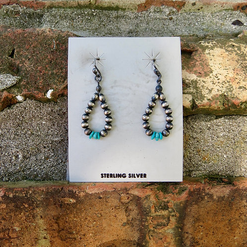 Small Navajo pearl and turquoise earrings