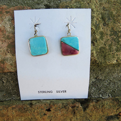 SOLD: Turquoise and purple spiny oyster shell earrings $45