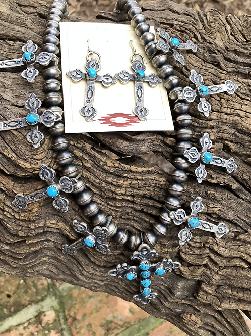 Cross necklace and earring set with handmade silver beads and stamp work