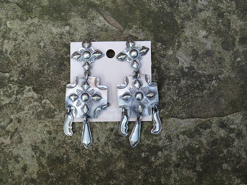 Navajo silver etched and stamped earrings