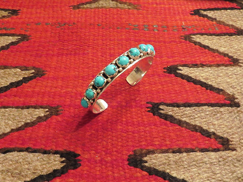 SOLD: 9 stone turquoise cuff signed by Navajo artist JP Ukestine $150