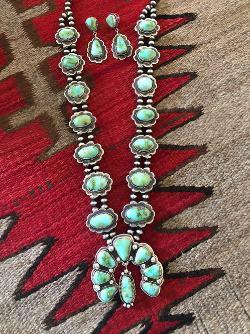 SOLD: Sonoran gold turquoise squash blossom with earrings $2850