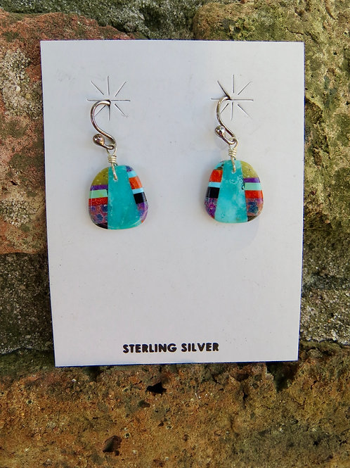 Small Turquoise slab with multi stone inlay earrings