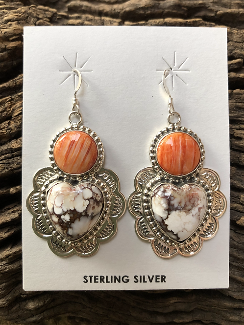 Orange spiny oyster and Wild Horse turquoise set into sterling silver dangles