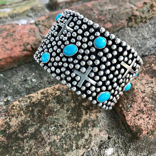 Sold- Turquoise crosses cuff #17 $695.