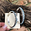 Thumbnail: Zuni turquoise snake eye set into sterling silver hoops by Joann Cheana
