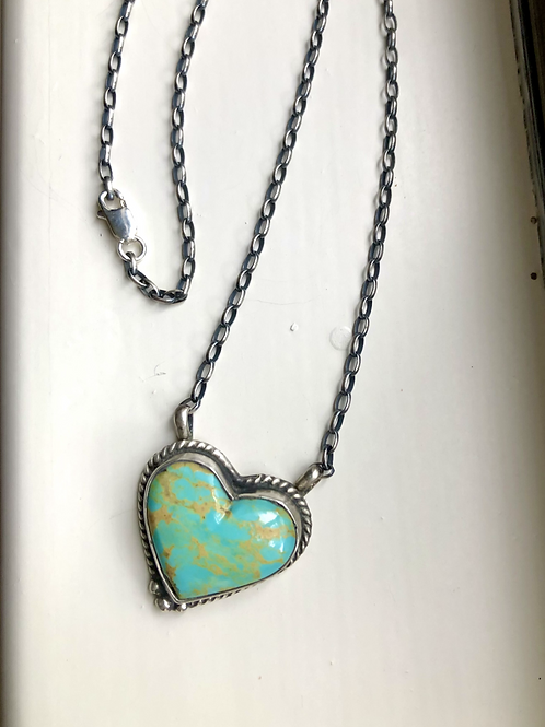 SOLD: Sterling silver and turquoise heart necklace by J. Kee, Navajo $150