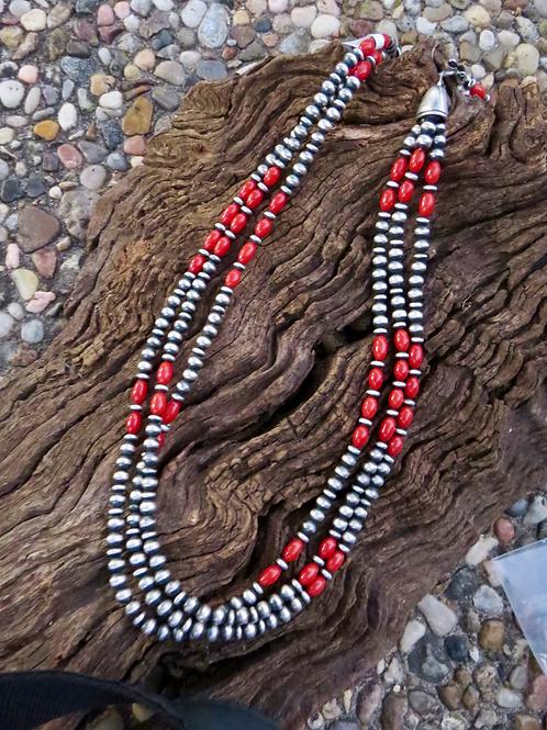 "Beautiful 19"" 3 strand Mediterranean coral and Navajo pearls necklace."