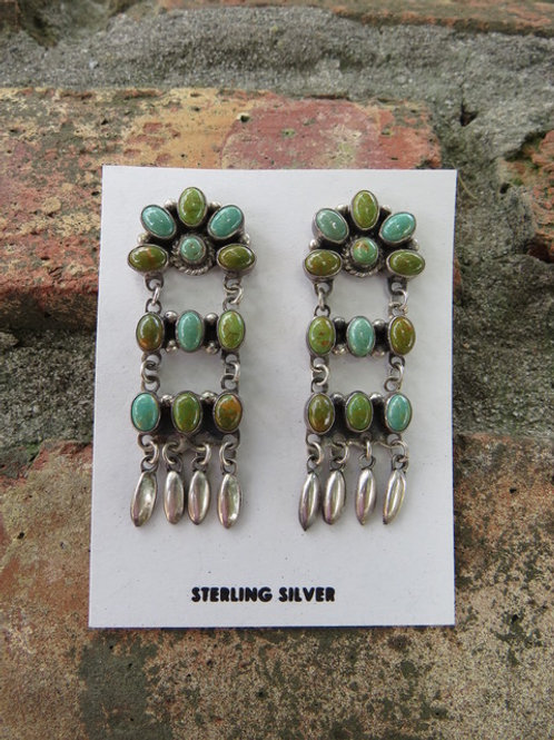 Turquoise earrings with silver dangles