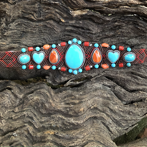 Beautiful hand woven band with Turquoise & orange spiny stones.