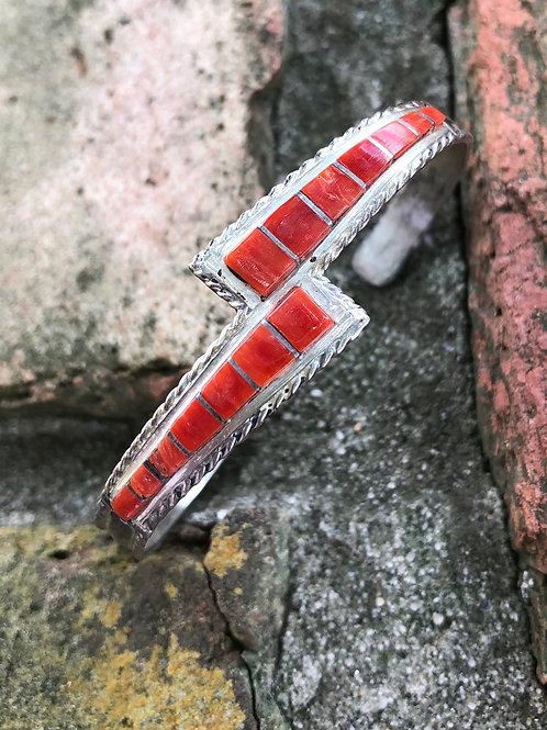 Zuni coral inlay cuff #51
