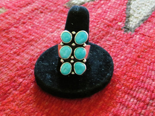 Turquoise 6 stone ring. Size 9 - 95R