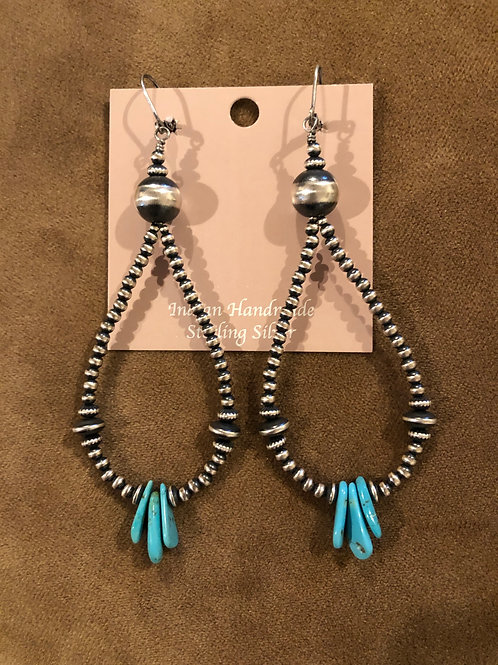 Sterling silver Navajo pearl hoops with turquoise