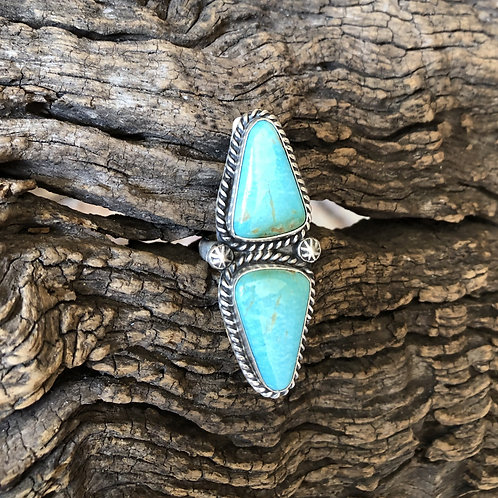 Navajo sterling silver ring with two stones, adjustable