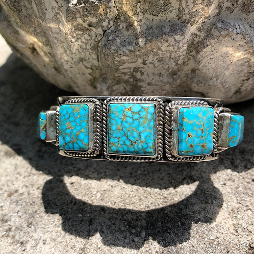 Five stone turquoise cuff #95