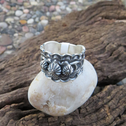 Sold- Navajo sterling silver hand stamped band. $90.