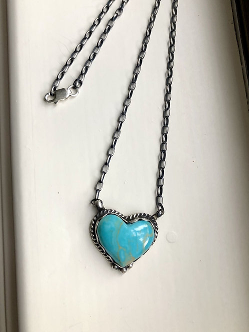SOLD- Sterling silver and turquoise heart necklace by J. Kee, Navajo $140