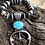 """Thumbnail: Graduated Navajo pear necklace with Kingman turquoise naja, 28"""" with extender."""