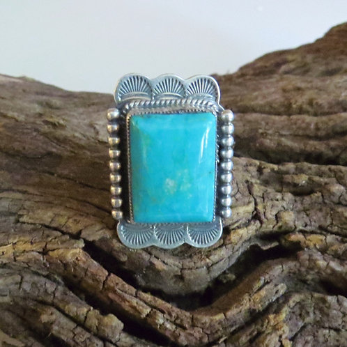 Navajo sterling silver turquoise ring by Feeney