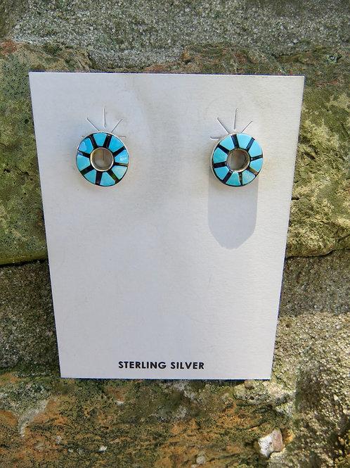 Turquoise inlay stud earrings