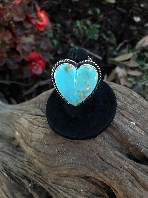 Sold- Turquoise heart Ring. Adjustable $336.